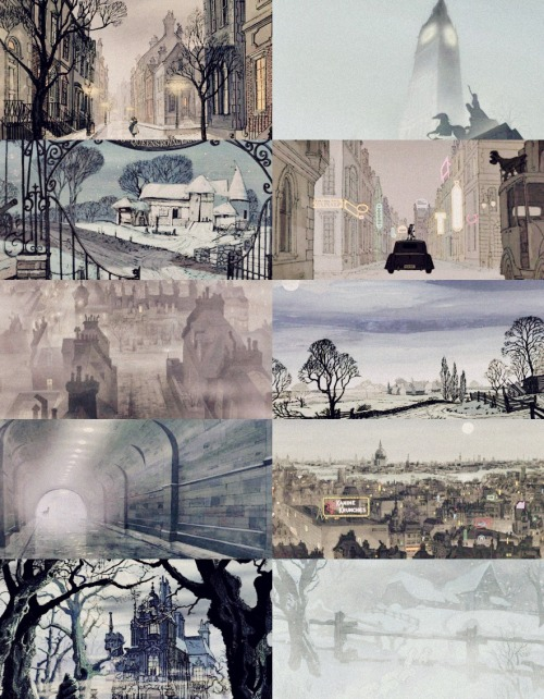 101 Dalmatians Scenery: England in Blue  eyvind earle's amazing work.