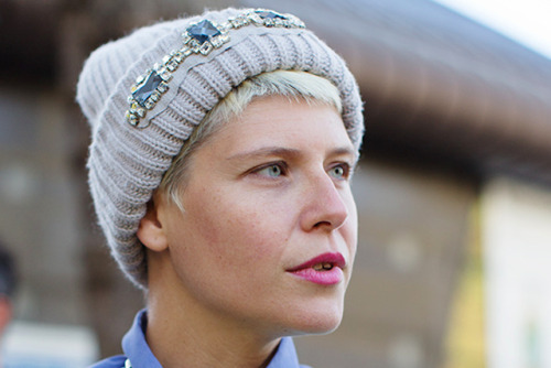 Look at this amazing Paule Ka beanie worn by Elisa Nalin! Gorgeous! If like me you would love a similar look but aren't willing to splurge check out this amazing DIY Jeweled Beanie tutorial by Honestly WTF! Casual yet still very chic!