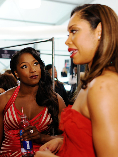 thefingerfuckingfemalefury:   Rutina Wesley looking at Gina Torres the way we all feel about Gina Torres.  Her thoughts right now: LET ME SMOOCH YOUR FACE