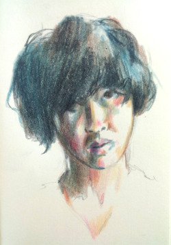 Daily portrait #310: February 16, 2013. Coloured pencil on moleskine.