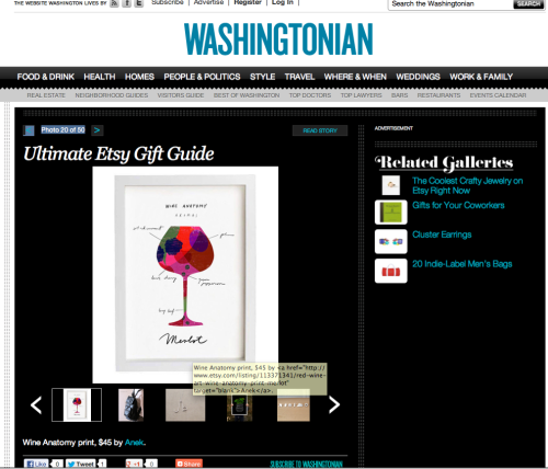Merlot WIne print in Washingtonian's Ultimate Etsy Gift Guide! http://www.washingtonian.com/