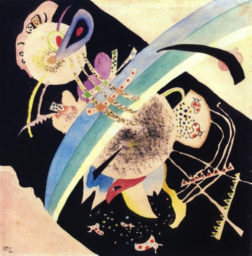 "german-expressionists:  Wassily Kandinsky, Study for ""Circles on Black,"" 1921"