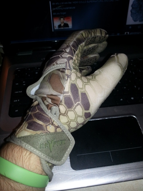 Kryptek Krypton gloves. Very comfortable. Almost too comfortable.