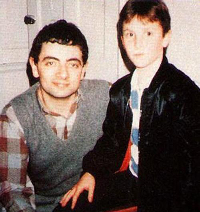 Rowan Atkinson and Christian Bale, 1985