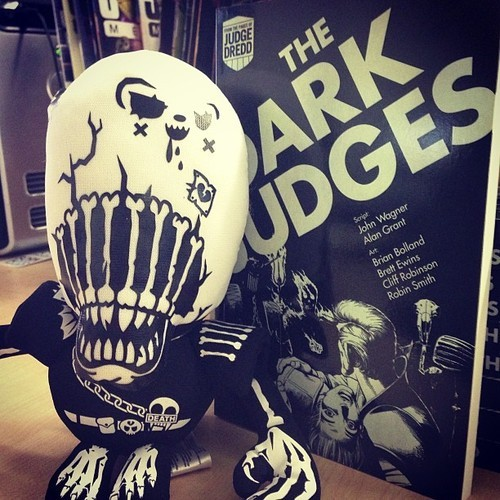 Good news earthlets! The winner of this terrifying Death plushie and book set runners up have been chosen and they are as follows: 1st prize,Death plushie: Grazar Runners up of manga sized Judge Dredd collections: IntergraFairbrook. Vinceapplemacinstagram And: Catwench We shall be contacting each winner individually very soon and you will receive your prizes when the MolchR PR droid returns from C2E2.