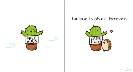 chibird:  Everyone finds a friend in the end, even the little cactus. :D Sidenote: I had an amazing/crazy time at state's and prom. We're going to national's again! I'll post more drawings this week to make up for the past few days~