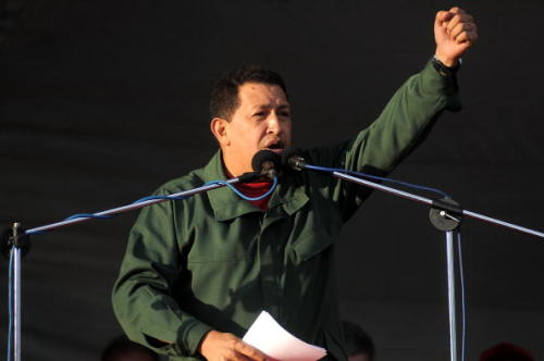 "Alma Guillermoprieto on the death of Hugo Chávez: ""During his years in power one never had to worry about whether conversation at a Venezuelan dinner party or a neighborhood dance would take off: there was always Chávez, and indeed, only Chávez, to bewail, praise, mock, or pray to. He was the only problem and the solution to every problem. In his endless, ravening ambition—the ambition of the fat man who inhales expansively in order to take up more room in the elevator—he was All.""  The Last Caudillo  Photo: Venezuelan President Hugo Chávez in Montevideo, Uruguay, December, 2009 (Dante Fernandez/Getty Images)"