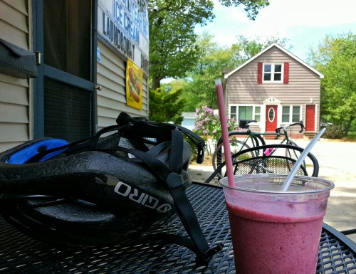 Mid-ride Smoothie Break       -taken with my phone. Regrettably,  I didn't bring my camera.  The skies were gray when I left, but became blue and beautiful when I shot this. C'est la vie!