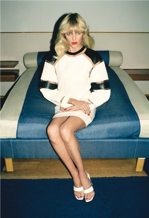 morningmode:  THE NOW Model Anja Rubik in Alexander Wang for Self Service issue n°38, photographed by Walter Pfeiffer. date 14.05.13 time 22:00