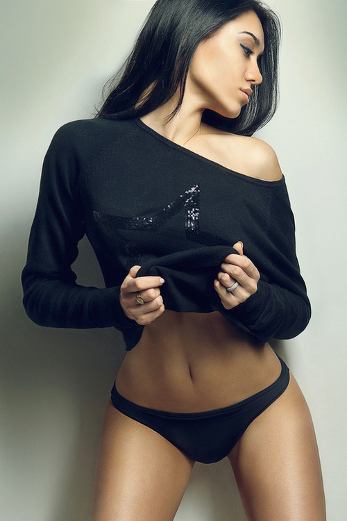 Hot girl in smooth black panties