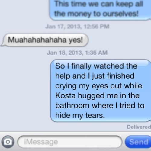 Best friend convos. About a year too late. #bestfriends #texts #thehelp #oscars #cryingmyeyesout #waytooemotional #sorrynotsorry #boston
