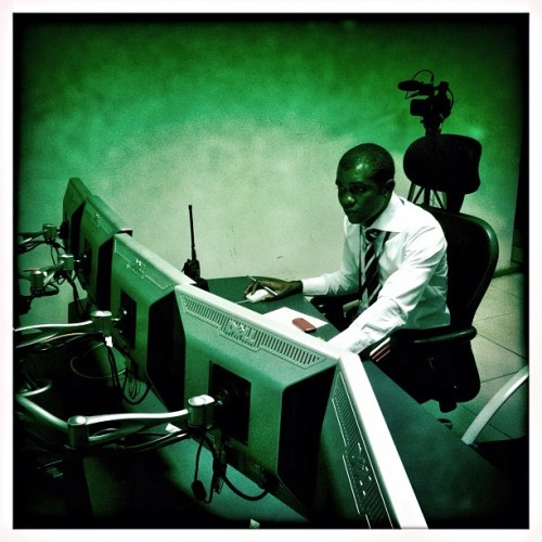 Monitoring flights at the headquarters of Arik Air, in Lagos, Nigeria. Photo taken by @austin_merrill in May 2012. #lagos #nigeria #arikair #africa #airline