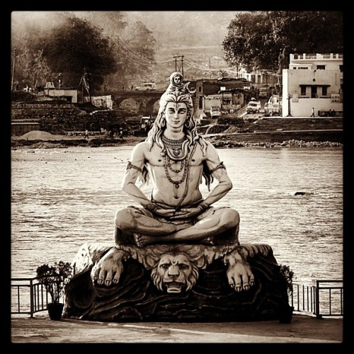 Lord Shiva along the sacred waters of the Ganges River in Rishikesh - India (at The World Peace Stupa)