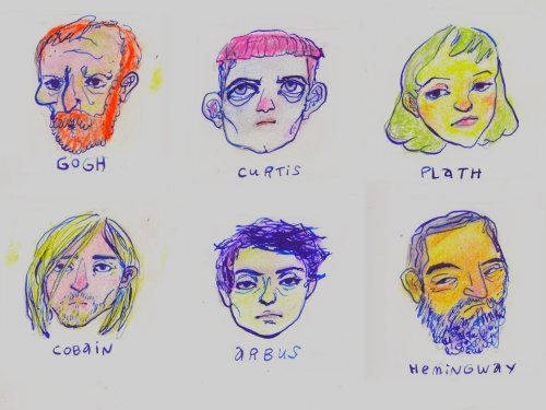 wryer:  average-bear:   dumb doodles of dead people who committed suicide