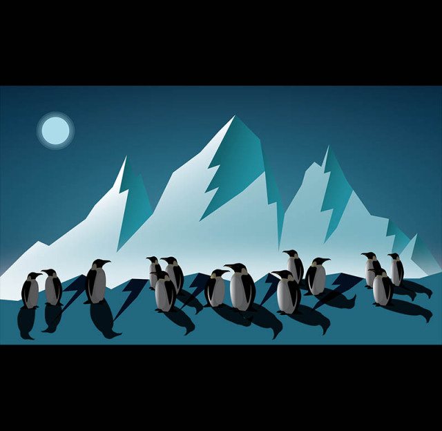 A digital art image of penguins at midnight during a full moon in an artic landscape.