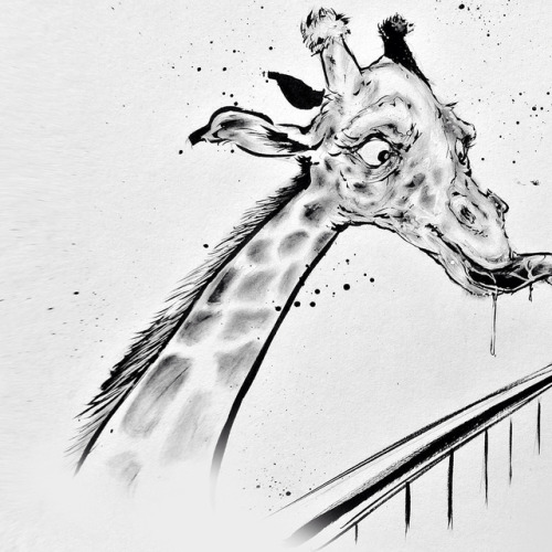 Art imitates life | @machinistwife and I take our daughter once a week to the zoo to feed the giraffes. She's was a bit shy like her expression in this drawing at first but the more we go the more she enjoys it. Giraffes are now one of her favorite...