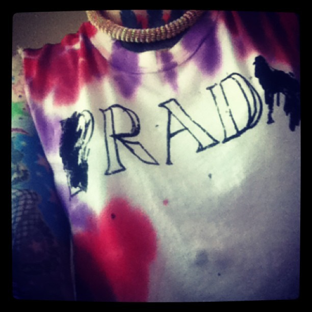 Yay new #unif tee! #prada #rad #pink #purple #goldchain (at the house of exit)