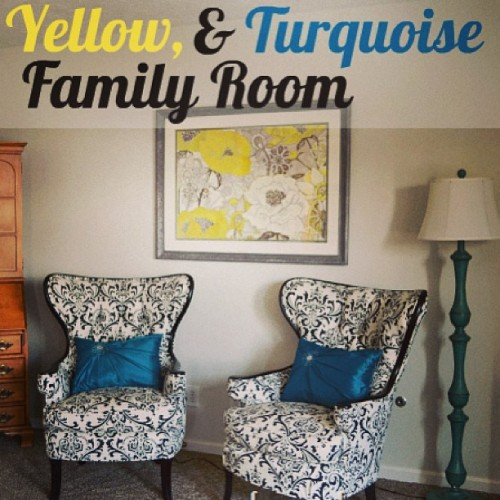 Blogger, Infarrantly Creative adds a touch of yellow, turquoise and Kirkland's to her family room.