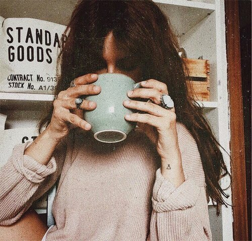 good morning cup of coffee coffee time coffee sweater casual morning boho accessories ring stone pastel free people free time winter drink bohemian boho boheme good vibes positive vibes pink