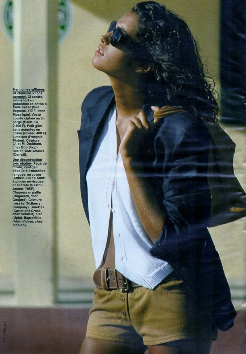 """Cap Vers Le Sud"", Elle France, January 1990Photographer : Marc HispardModel : Yasmeen Ghauri"