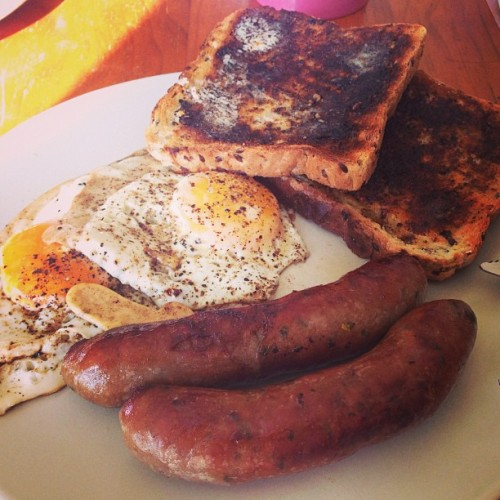 Breakky before a full day at work… #breakfast #brunch #sausages #toast #eggs #food