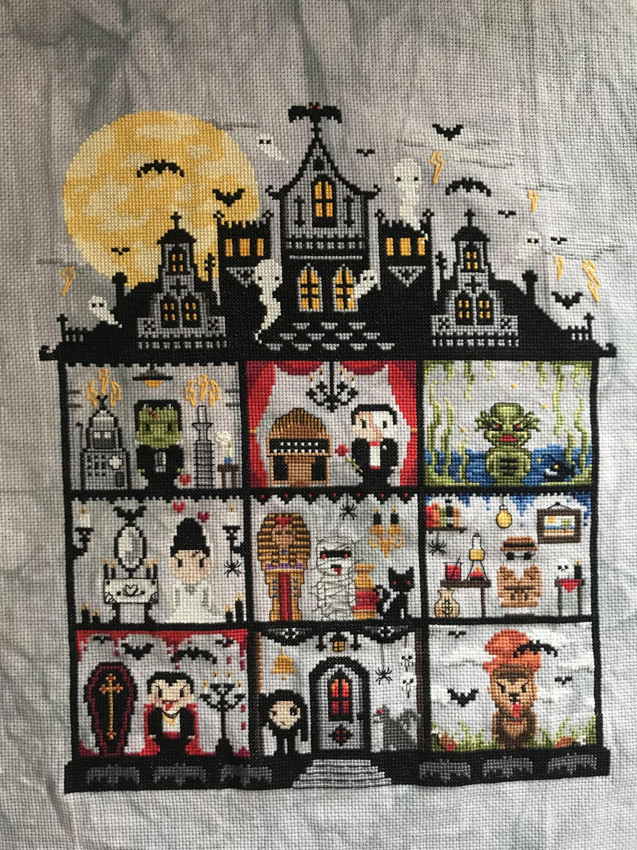 Universal Monster SALstitched byKarlyFr1es. Pattern ($18.09) designed by Meg Black of The Witchy Stitcher. #cross stitch#inspo#x #the witchy stitcher #pop culture#halloween