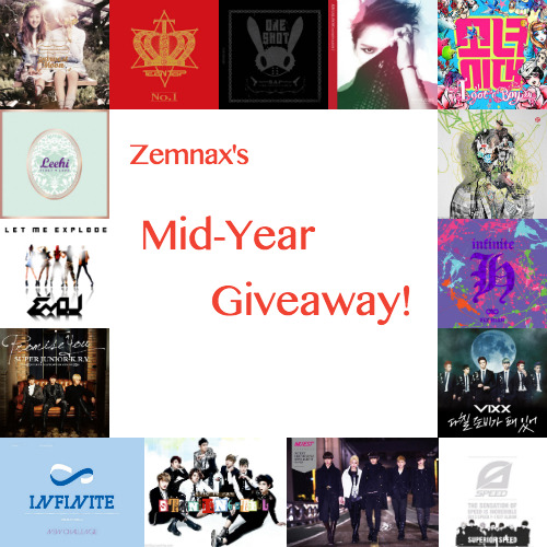 zemnax:  - MID-YEAR K-POP GIVEAWAY- Hey everyone! This is my 5th(ohmygod) giveaway and my first one in 2013. I've been gone for awhile and I just wanted to do this giveaway to say thank you to those who have been sticking with me! For those who aren't following me, think of this as hello and a chance to win cool stuff yes? ? ? ? There will be THREE winners chosen! 1st Place Winner Receives: - Any (2) K-Pop Albums of their choice - Surprise K-Pop gift from me 2nd Place Winner Receives: - Any (1) K-Pop Album of their choice 3rd Place Winner Receives: - Any (1) K-Pop poster of their choice from Kpoptown or Kpopmart RULES:  1. Like only once.  2. There is a limit of *1* reblog per person! The last giveaway I hosted had too much spam and just to make it fair! 3. You don't have to be following me, but if you do, I would appreciate it and we could become friends perhaps????  4. I ship internationally! Everyone should have a chance to enter! 5. If you have any questions about this giveaway, feel free to contact me through my ask box.  6. When the winner is being chosen, keep your ask box open so I will be able to contact you if you won! If you have any questions, click here for a  Giveaway FAQ —> ( X ) Giveaway starts: April 6, 2013  Giveaway ends: May 25, 2013 at MIDNIGHT EASTERN STANDARD TIME! *The winner will have any album of their choice and is not limited to the albums used in the edit. I just put those album pictures there because those are the ones that were released most recently. [yongguk voice] chyeah