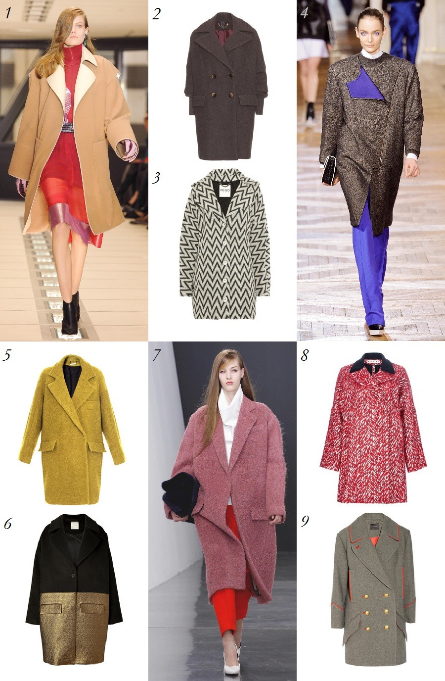 Trend Watch: Oversize Coats This season, bigger is better, with larger-than-life clutches, ruffles, and prints dominating the runways and the streets. Perhaps the most noticeable and timely of these big bold trends is the oversize coat. Seen at Acne, Chloe, Jil Sander, Balenciaga, and many more, these warm winter staples came in a range of colors, textures, and prints. Better yet, just think of all of the layers you'll be able to fit under them when the temperature dips.  1. Balenciaga 2. Marc by Marc Jacobs 3. Kenzo 4. Stella McCartney 5. Diane von Furstenberg 6. Hakaan 7. Celine 8. Marni 9. Isabel Marant