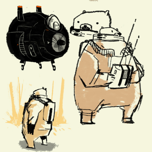 part of a page of sketches of a bear in a spacesuit