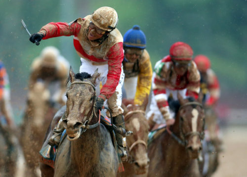 nina-berry:  Orb wins the Derby, fighting through the muck to a decisive win. He's going to be big.  ‏