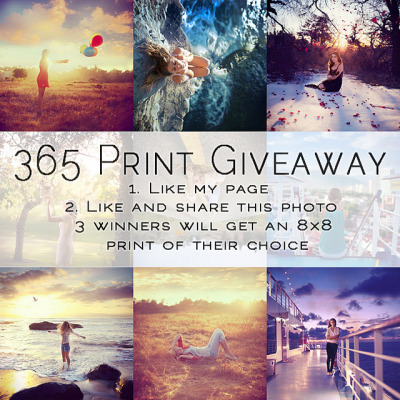365 Print Giveaway! on Flickr.Via Flickr: I want to thank you all for your continual support, especially during my 365 project. To express my gratitude, I'm holding a print giveaway.To enter: 1. Like my Facebook page (Paige Nelson Photography) 2. Like and share this photo 3. Comment on the photo telling me you've completed the first two steps 3 winners will receive 8x8 (or equivalent) prints of their choice! I will draw names once my page reaches 1,000 likes. :) *PS— I promise to be posting again soon! As soon as this weekend!