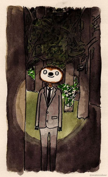 insanelygaming:  Slendersloth Created by shittywatercolour
