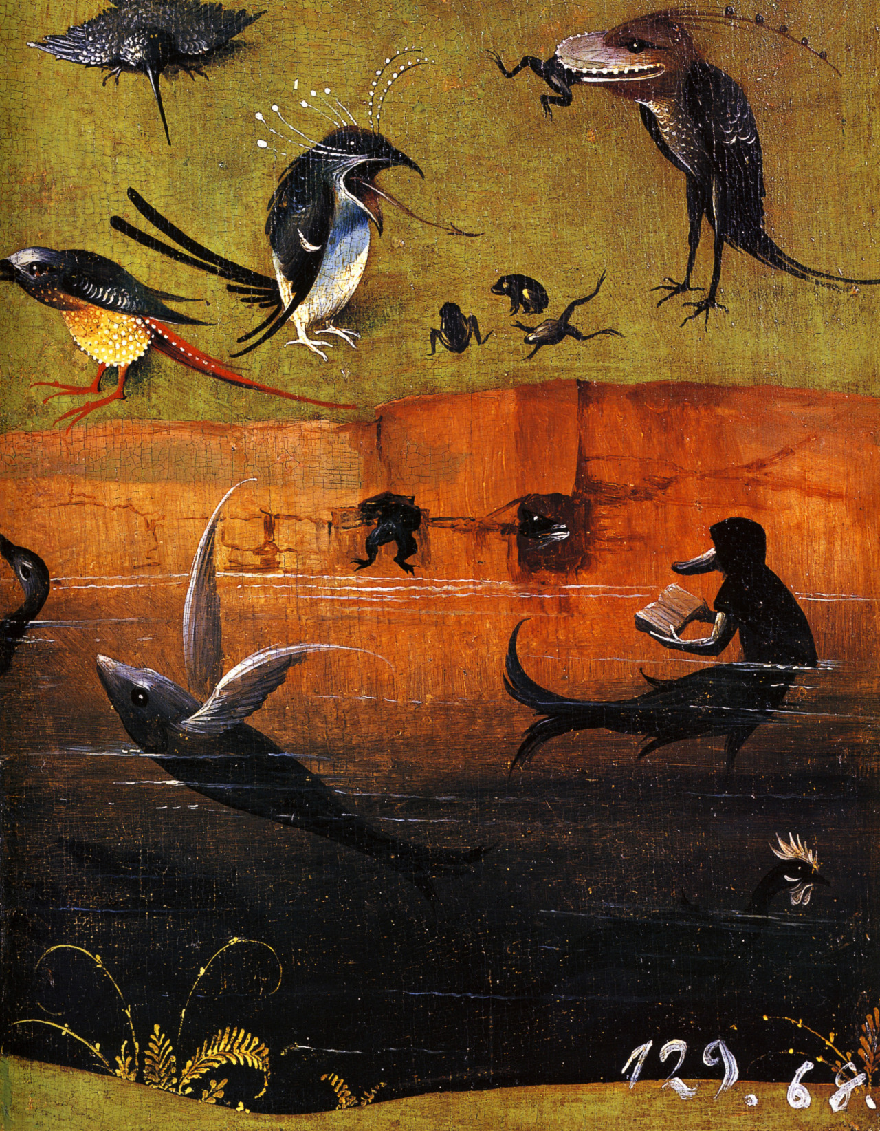 1480-1490  Hieronymus Bosch, The Garden of Earthly Delights, Paradise, detail diverse and varied wildlife