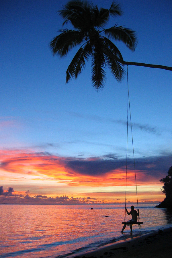 travelingcolors:  Sunset Swing in Viti Levu | Fiji (by Clearnegative)