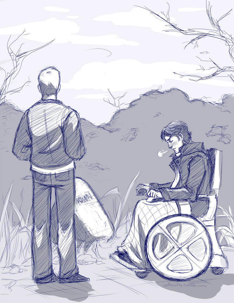 "This was an illustration to accompany a fic I wrote for my XMFC Airmail recipient. The premise was very simple: on a cold day in the winter that follows Cuba, Charles bumps into Alex at Darwin's makeshift grave in the Xavier garden. They have a good conversation where Alex insinuates that he had (perhaps one-sided) feelings for his lost friend, and suggests that Charles can understand that ""more than anyone"". Charles reminisces about his time with Erik (where nothing did happen between them after all) and Alex begins the very long road of making peace with Darwin's death.  It was horribly, horribly written which is why I'm giving you the summary instead of the actual fic, but I did like how this turned out. Paint Tool Sai."