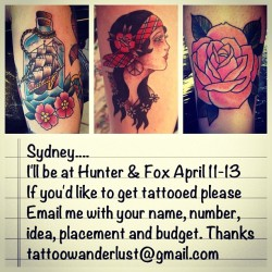 Sydney!! I'll be back at @hunterandfoxtattoo in a few weeks. Come get tattooed :)