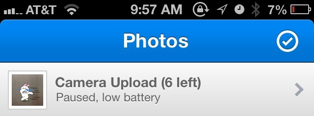 littlebigdetails:  Dropbox - iOS app automatically pauses Camera Upload when the battery is running low.
