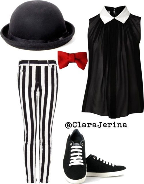 Funk-stripes by clarajerina featuring a black hatWitchery collared shirt, $125 / Mango cotton pants / Vegetarian Shoes black wedge, $105 / Black hat, $18