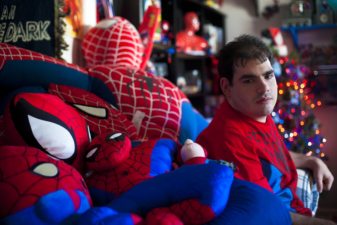 Spider-Man's biggest fan - 05/05/13 - Photo by Marie D. De Jesus Justin Presciutti, 21, of Greece has surrounded his entire life around the Spider-Man character. His passion for the super hero won him a spot as an extra at The Amazing Spider-Man 2 filming in Rochester and the opportunity to meet and spend time with the production crew of the film. Sun., May 5, 2013. Photo by Marie De Jesus