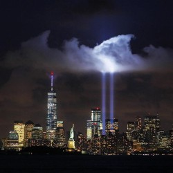 brownchompsoup:  Tonight's #tributelights …  #notmypicture #911 #remember #remember911 #nyc #newyork #newyorkcity #always #13years