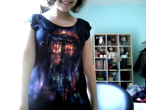 "trenchcoatsandtimemachines:  YAAAAAAAAY MY ALICE ZHANG TARDIS SHIRT HAS ARRIVED! I'VE BEEN WAITING FOR 6 WEEKS!  I'm sorry you waited that long, apparently the shirt was backordered like crazy! Anyway, if you missed this design last time, it's in stock now, PLUS Threadless has an awesome sale going on and you can get this design (""All of Time and Space"") for only $10 + FREE INTERNATIONAL SHIPPING! (Coupon code: HOLYSHIP, must spend $25) Go forth Whovians!"