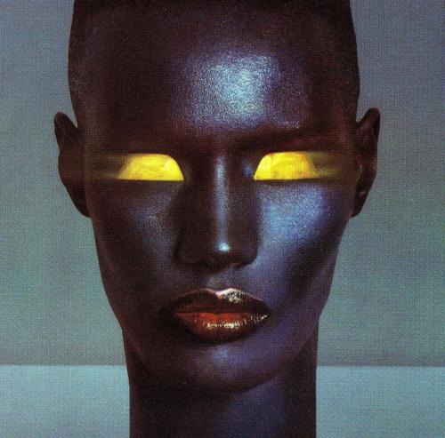 Grace Jones ya'll. A super talented and eccentric Jamaican who was apparently role model for Madonna and Lady Gaga.