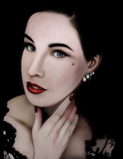 Dita Von Teese portrait, done in Photoshop, some hours in different sessions