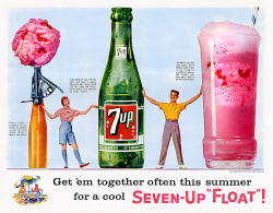 "theniftyfifties:  1957 Seven-Up ""Float"" advertisement."