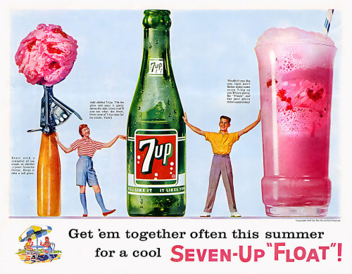 "theniftyfifties:  1957 Seven-Up ""Float"" advertisement.  yum!"