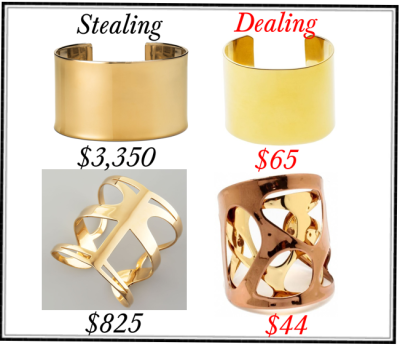 fashiondealsgalore:  Top row: Blue Nile Wide Polished Cuff Bracelet in 14k Yellow Gold // J.Crew High-shine wide cuff Bottom Row: Simone I. Smith Infinite Love Cuff // Katerina's Copper & Gold Open Cut Out Design Cuff Bracelet