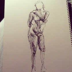 I always draw the models a lot weightier then they are… #art #artist #artwork #drawing #sketch #sketchbook #illustration #lady #lifedrawing #pen
