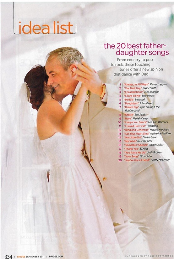 bride2be:  idea list: the 20 best father-daughter songs [via brides.com]