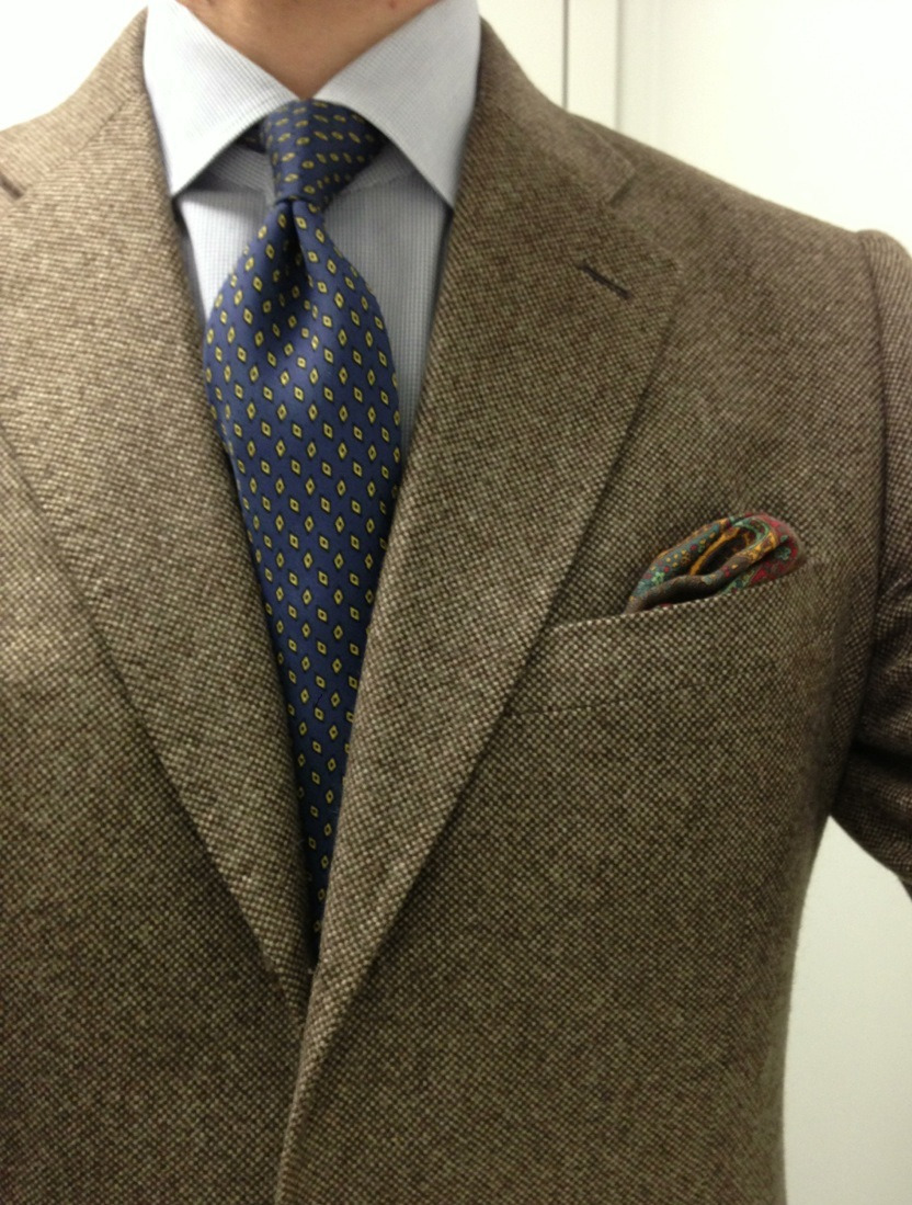 Busy week.   Vintage  Kiton shirt Attolini tie  Bergdorf Goodman PS Creed Royal Scottish Lavender Unseen: J. Crizzle Bowery pant in khaki Tods chocolate suede chukka boot Stress