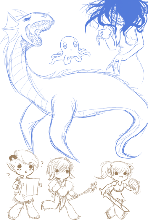 doodle warm up plesiosaurmonster a terrifying lovetopus and a sea witch plus 3 basir adventurers